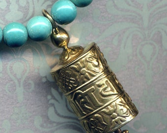 Tibetan Prayer Wheel Necklace, Buddhist Necklace, Genuine Magnesite Necklace, LAST Prayer Wheel Pendant, Handmade Nepal Jewelry