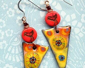 Yellow Enamel Earrings, Unique Bird Earrings, 925 Silver Earrings, Colorful Floral Enamel Sterling Earrings, New Handmade Line by AnnaArt72
