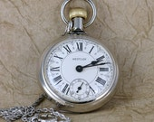 Vintage Westclox Pocket Watch  -  Manufactured in Canada - Circa 1979 - With Pocket Watch Chain