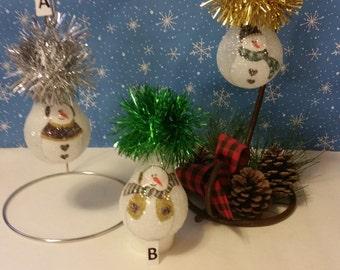 Snowman ornament keepsake light bulb ornament