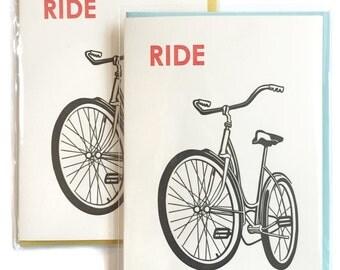 Ride Bike Card, Blank Greeting Card, letterpress cards, blank notecard, box of 6 greeting cards, bike lover gift, birthday cards, dad card