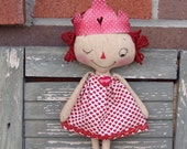 Handmade princess Raggedy Ann doll, Valentine's Day doll