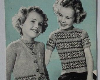 Vintage 1940s 1950s Knitting Pattern Girl's Twin Set Cardigan Sweater Traditional Fair Isle Design 40s 50s Original Pattern Bestway 2138 UK
