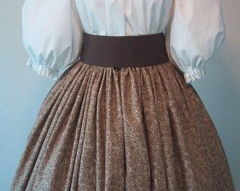 Long Skirt for Costume - Pioneer SASS - Civil War Reenactment - Victorian - Tan Floral Print Cotton Fabric - Handmade