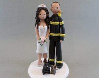 Firefighter & Nurse with Pets Custom Handmade Wedding Cake Topper