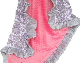 Coral and Gray Damask Minky Baby Blanket, with Gray Satin Ruffle - Can Be - available in three sizesCan Be Personalized