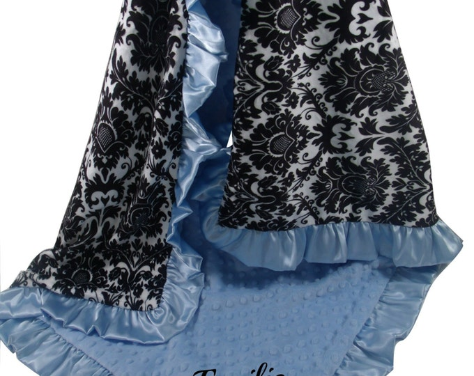 Black and Gray Damask Minky Baby Blanket with Blue Dot minky Back and Satin Ruffle Trim, available in three sizes