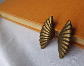 Vintage Bronze Wing Pierced Earrings