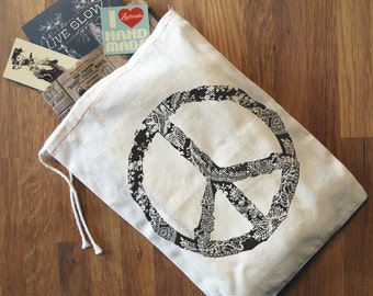 "PEACE Gift Bag / 8x11""  - Hand Printed Drawstring Reusable Cotton Zen Threads"