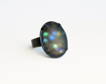 Rainbow Glitter Ring Black Cosmic Galaxy Ring Iridescent Glass Glitter Jewelry Frosted Matte Glass Ring Nail Polish Jewelry Oxidized Brass