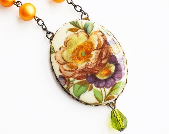 Large Floral Cameo Necklace Vintage Flower Pendant Orange Floral Jewelry Victorian Flower Cameo Orange Bridal Wedding Statement Necklace