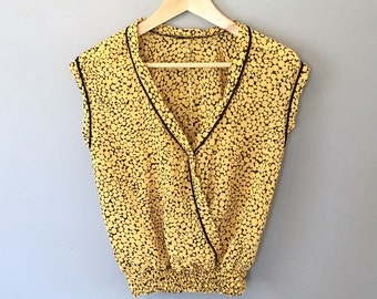 Yellow and Black Patterned 70's Top