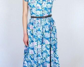 Pretty Blue Floral Cotton 90's Dress
