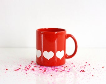 Vintage Waechtersbach Germany Red and White Heart Mug