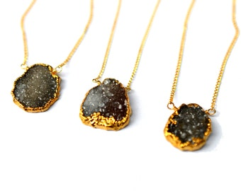 Black Drusy Necklace, Raw Gemstone Necklace, Layering Necklace