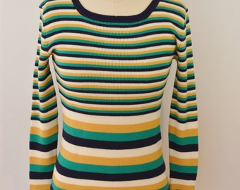 last chance Vintage Dayne Taylor Striped Fitted Long Sleeve Women's Sweater