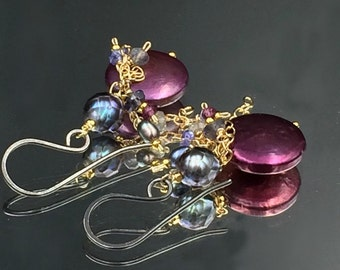 Plum Coin Pearl Earring Oxidized Silver Gold Fill Chain Dangle Tanzanite Garnet Wire Wrap Navy Grey Laser Pearl Mixed Metal Earrings