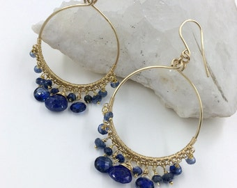 Blue Gemstone Hoop Earrings Kyanite Blue Lapis Beaded Gold Filled Hoop Earring Wire Wrap Blue Gemstone Gold Hoops Handmade Luxury Fashion