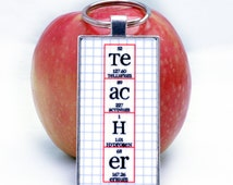 Teacher Periodic Table Chemistry Science Necklace or Keychain - Key Ring Jewelry