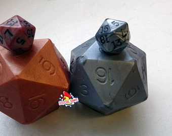 D20 Die Soap Set With Dice Inside | Bronze and Steel D20 soap | Tabletop Gaming Soap | Dungeons and Dragons Soap | MtG D&D