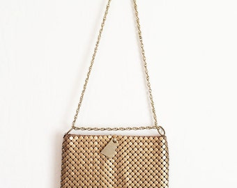 Vintage Whiting and Davis Matte Brass/Bronze Gold Metal Mesh bag,  Evening Bag, Shoulder Bag Purse