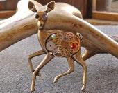 Steampunk Jewelry Clockwork Deer Brooch Brass Necklace
