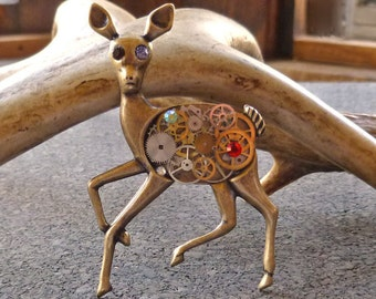 Steampunk Jewelry Clockwork Deer Brooch Brass Necklace