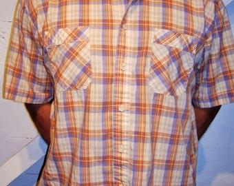 Vintage Kingsport Beige Blue Plaid Button Up Shirt XL
