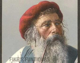 Italy Antique Postcard - Marinaio Spadaro, Old Sailor Smoking Pipe Litho (Unused)