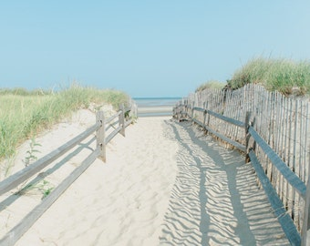 beach photograph, sand path to beach, sand dunes, blue sky and ocean, beach house decor, cape cod beach art