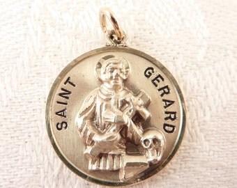 Vintage Creed Sterling Saint Gerard Pop Out Prayer Medallion Pendant or Charm