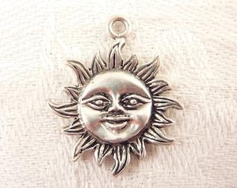 Vintage Sterling Smiling Sun Pendant
