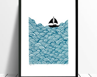 "Fine Art Print ""Bigger Boat"" (Petrol Blue) A3 size - FREE Worldwide Shipping"
