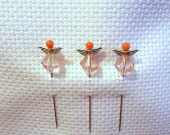 Counting pins, Cross stitch, NeedleCraft, Embroidery - Angel Pins, Orange