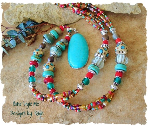 Bohemian Jewelry, Turquoise Necklace, Boho Southwest, Multi Color Necklace, Stone, Original Handmade Bohemian Jewelry by Kaye Kraus