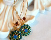 Flower Earrings - Blue - Victorian Earrings - FIORE Sea
