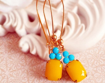 Sunny Yellow Earrings - Bridesmaid Gifts - Turquoise Earrings - Spring Wedding Earrings - Lemon Yellow Earrings - REGENCY Sunshine