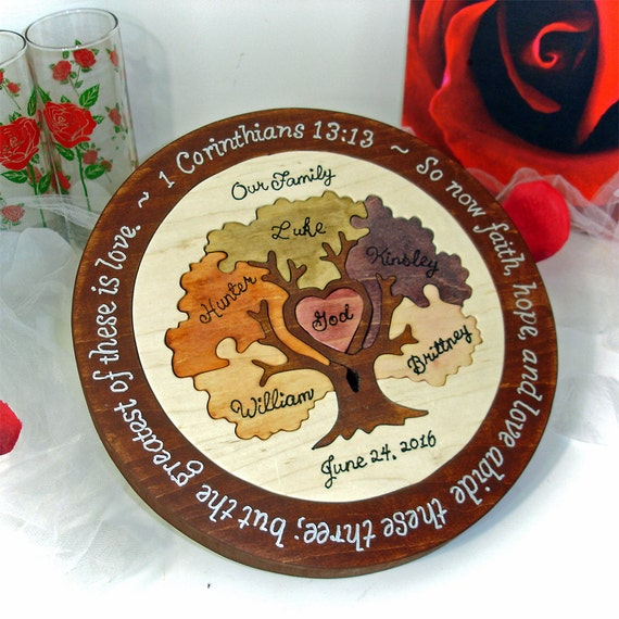 Custom designed family tree wedding unity puzzle by puzzledone