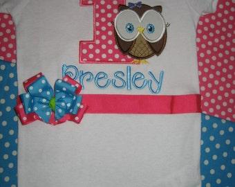 Baby Girl Owl Birthday bodysuit, owl birthday outfit, monogrammed owl bodysuit