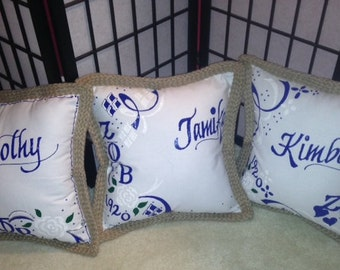 18x18 Handpainted and personalized custom throw pillow created and designed just for you!