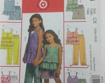 Girls Summer Capri,Ruffled Top,and Shorts Pattern Mccalls M5573 Girls size Xsmall - Small