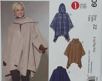 Easy Poncho and Belt Pattern Mccalls M6209 Misses Size Large to XXLarge 1 Hour Poncho Pattern