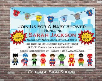 Superhero Baby Shower, Superhero Baby Shower Invitation, DIGITAL, YOU PRINT,  Superhero Shower , Superhero Baby Shower Theme