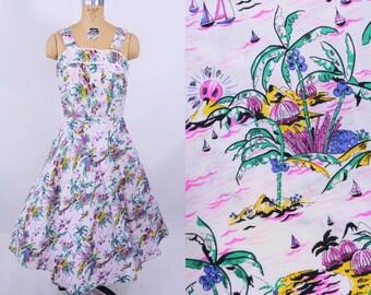 1980s dress vintage 80s does 1950s novelty rhum monkey print tropical sundress S/M