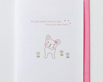 French Bulldog in Love - Anniversary Card, Valentine Card, I Love You Card, Funny, Unique, French Bulldog, Cute, Kawaii, Dog, Animal Card