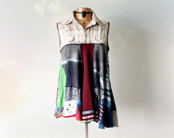 Upcycled Tunic Boho Hippie Chic Clothing Country Plaid Shirt Women's Bohemian Top Rustic Clothing Patchwork Clothes Pieced Together L 'NAOMI