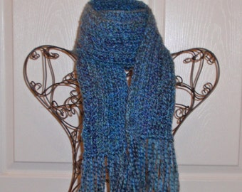Hand Crocheted Scarf - SUPER SOFT Homespun Yard Colonial Blue - Women's Fashion Scarf, Woman's Apparel, Scarf, Scarves, Fashion Accessory