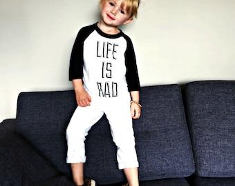 Kids Life is Rad baseball tshirt - super soft white and black kids baseball tee - 3/4 Sleeve - Sizes 2T,4T,6 - Rad Tshirt - Life is Rad Kids
