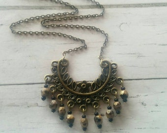 Antique Brass Intricate Chandelier Statement Necklace// Boho Beaded Tribal Necklace// Bohemian Jewelry// Gift for Her