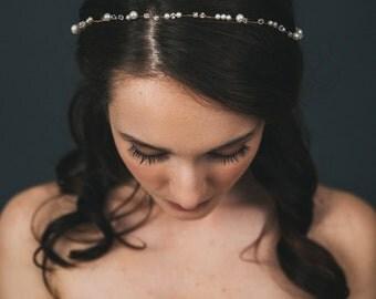 Bridal Pearl Tiara | Crystal Headband | Bridal Headpiece | Wedding Hair Accessories | Gold Hair Wreath | Wedding Pearl Crown [Sylvie Tiara]